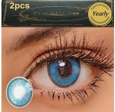 Marine Blue 2 TONE Hidrocharme Hidrocor Freshgo Contact Lens 12 MONTH wear lenses Blue Coloured Contacts (2 lenses)