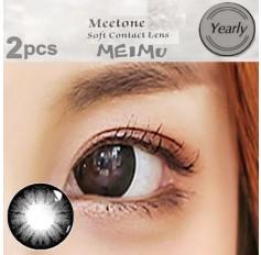 BLACK Contact lenses 1 Year wear Big Eye Black Circle fashion coloured Contact Lenses MEIMU 2 Tone (2 lenses)