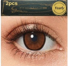 Ochre Hazel Brown 2 TONE Hidrocharme Hidrocor Freshgo Contact Lens 12 MONTH wear lenses Brown Hazel Coloured Contacts (2 lenses)