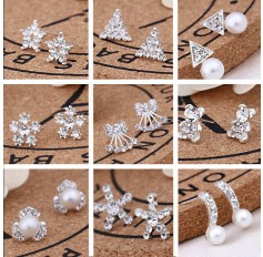 Pair Silver Stud Earrings Sparkly Crystal Stones Pearl Bead Fashion Studs Women Girls