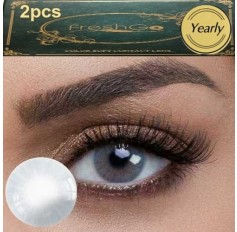 Pair GRAPHITE Grey Hidrocor Freshgo Contact Lens 3for2 on all Annual 12 MONTH wear lenses Natural Grey Coloured Contacts No limbal ring (2 lenses)