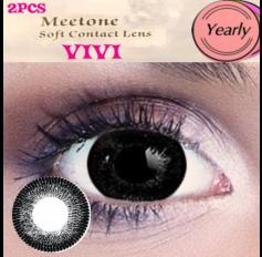 BLACK Contact lenses 1 Year wear Big Eye Black Circle fashion coloured Contact Lenses VIVI 3 Tone (2 lenses)